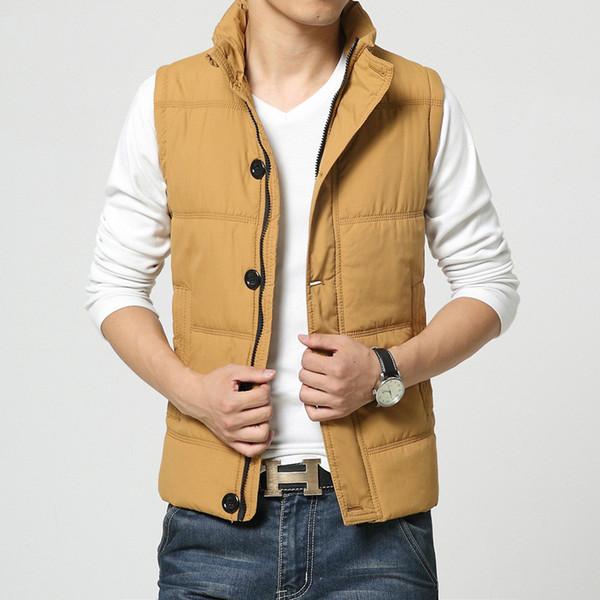 best selling Winter Jacket Men Casual New Mens Down Coat Vest Jacket Button design Short Slim Down Cotton Men Vest Short Jackets Clothes