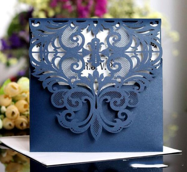 Cheap Arrival Laser Hollow Personal Design Blue Wedding Invitation Customization Invites With Envelope Wedding Accessory Blank Inner Custom