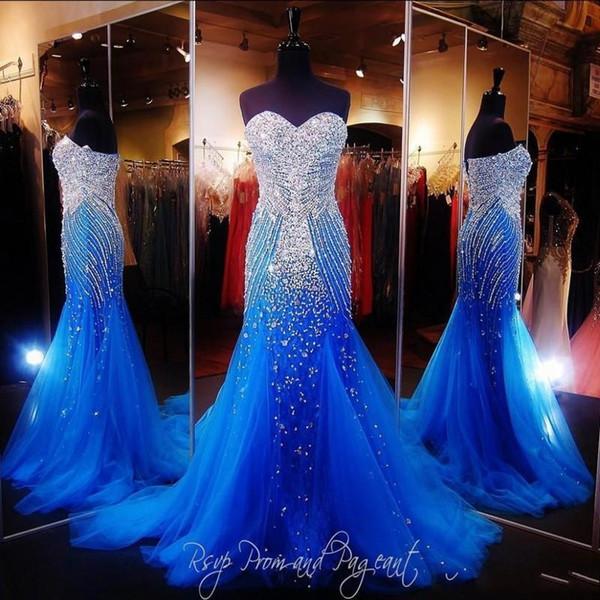 Royal Blue Mermaid Vestidos de Fiesta Largos Pageant Sexy Sweetheart Vestido de Lujo con Cuentas de Cristal Vestidos De Gala de Tul Vestidos del desfile