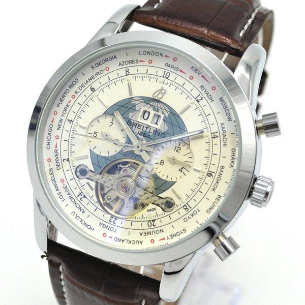 6591eca49fa Os homens mecânicos do relógio do negócio superior da marca Waterproof a  faixa de couro da