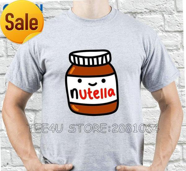 Tee4U Tasarım T Gömlek Kısa Kollu Yaz O-Boyun Erkek Nutella Gülümseyen Kavanoz Tee Gömlek