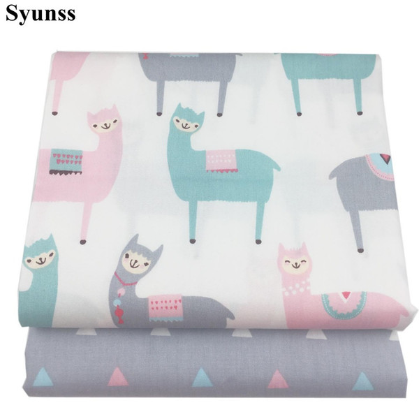 Syunss Gray Pink Alpaca Print Twill Cotton Fabric DIY Handmade Sewing Patchwork Baby Cloth Bedding Textile Quilting Tilda Tissus