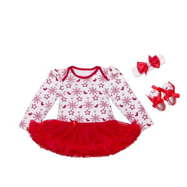 Newborn Girl Christmas Clothing 0-24 Month Baby Girl Long Sleeve Cotton Snowflake Rompers Baby Jumpsuit Tutu Dress+Shoes+Headband=3PCS/Set