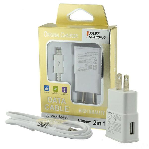 Adaptador de cargador de pared de carga rápida Adaptador de viaje doméstico + cable micro usb de 1 M Kits de adaptación rápida 2 en 1 con paquete minorista para Samsung S4 S5 S6