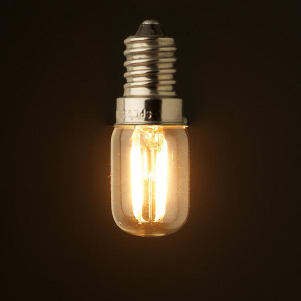 Bombilla de iluminación retro de filamento LED, 1W 2W, 2200K, E12 E14 Base, Edison Ampolla T20 de vidrio transparente, 110V 220VAC, regulable