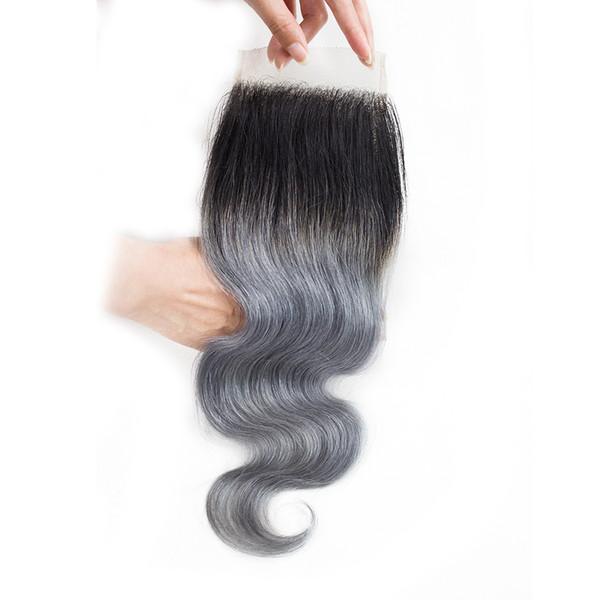 Ombre grigio pizzo chiusura 4x4 pollici brasiliani del remy dei capelli umani onda diritta peruviana indiano malese estensioni dei capelli umani 12 14 16 pollici