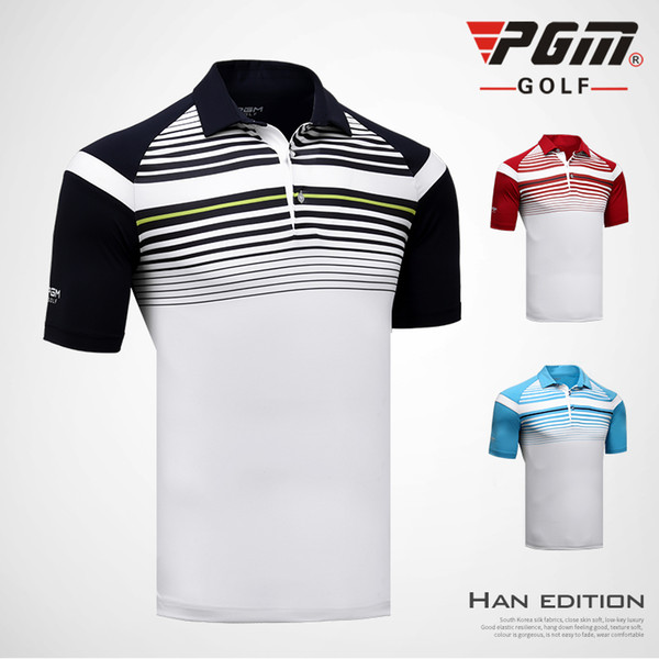 top popular PGM new men's golf clothing striped buon collar short-sleeved Sports T-shirt summer breathable quick-drying sportswear M-2XL 2019
