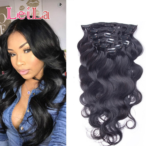best selling Brazlian Body Wave Clip In Hair Extensions 10pieces set 100-120 g Unprocessed Human Hair Clip In Virgin Natural Color