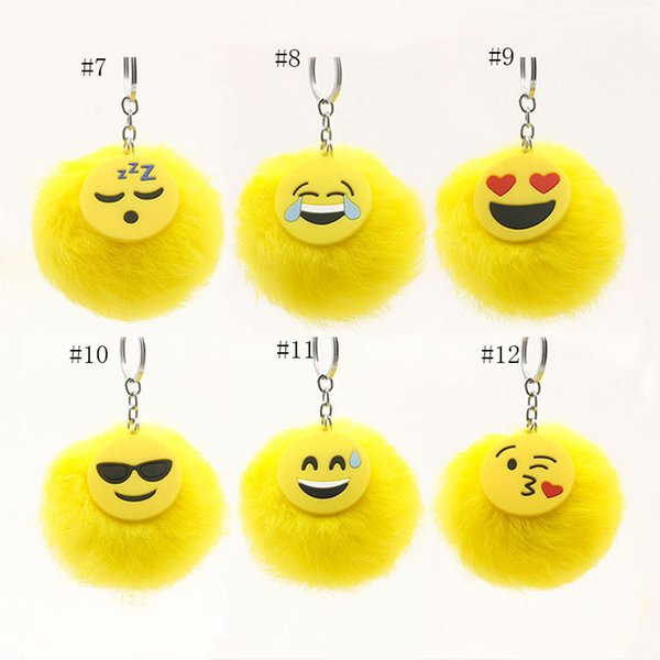 12 styles Fluffy Emoji unicorn Keychain cartoon plush Key Ring Cell Phone Charms Handbag Purse pendant Fur Ball Key Chain C4503