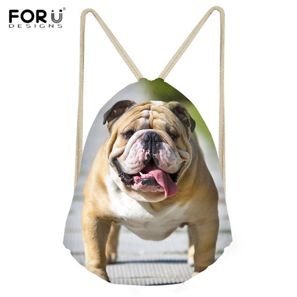 FORUDESIGNS Cute 3D Puppy England/British Bulldog Printing Backpacfor Girls Fashion Softback Travel Drawstring Bag Beach Bag