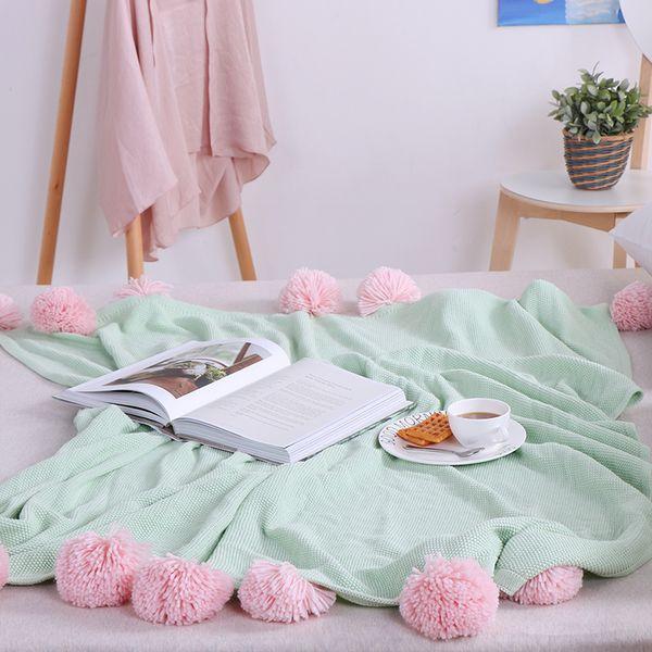 130x160cm Kids Baby Knitted Blanket INS Soft Cotton Solid Crochet Balls Tassel Throw Blankets on Sofa/Bed/Plane Travel Rug
