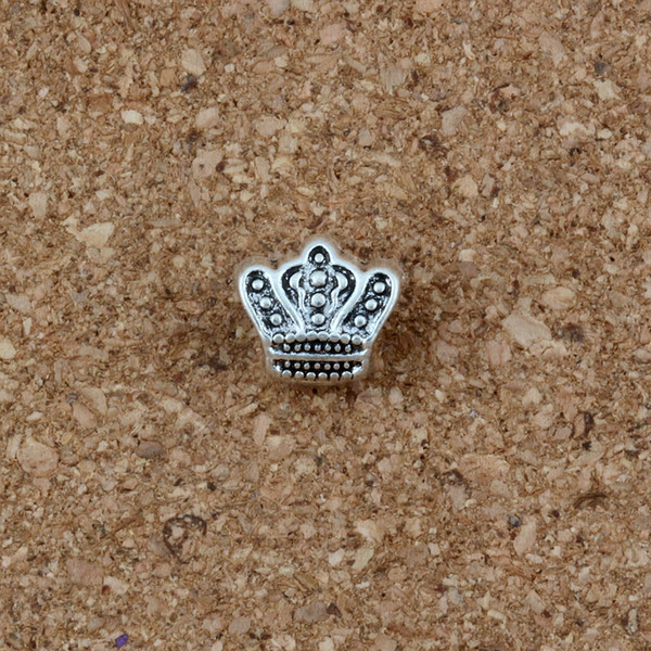 Großhandel 100 teile / los Crown Big Hole Spacer Charms Perlen Antike silberne Legierung DIY Für Schmuck Machen armband 10 * 11mm F-2