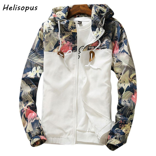Helisopus Floral Printed Jacket Mens Hip Hop Slim Fit Flowers Male Bomber Jacket Spring Autumn Men's Hooded Coat Asian size Y1892505