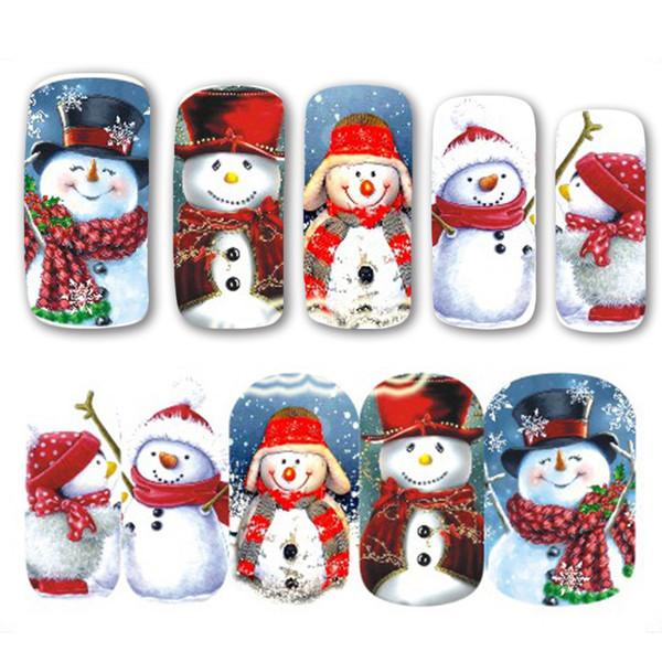 Compre Nuevo 2017 1 Unids Navidad Tema Navidad Santa Muñeco De Nieve Diseños Para Nail Art Diy Craft Wraps Transferencia De Agua Etiqueta Calcomanía