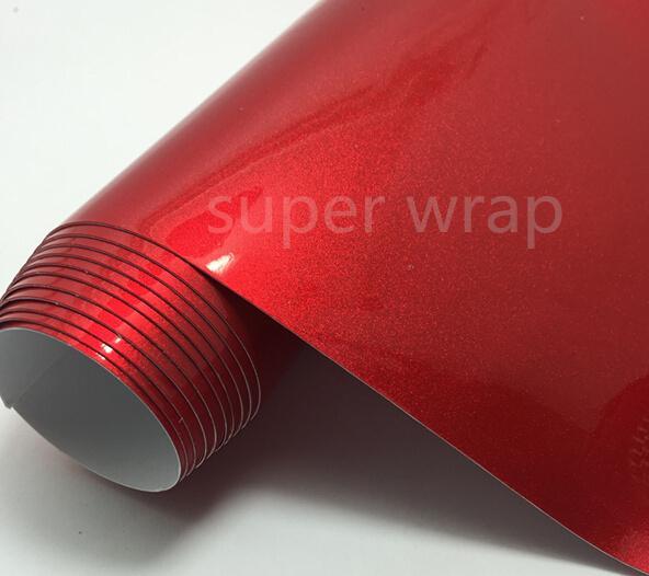 뜨거운 판매 1.52 * 18M 차 몸 포장 진주 사탕 Apple 빨간 광택있는 비닐 가동 가능한 포장 스티커