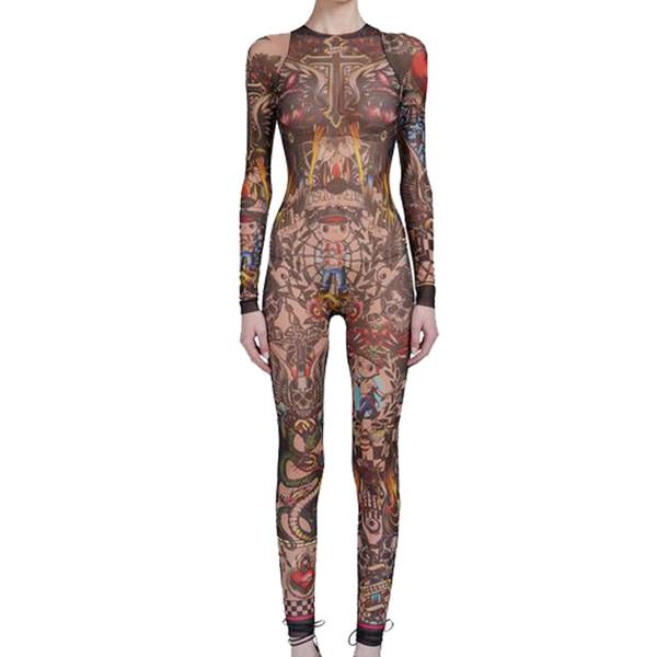 Summer Women Skull Tribal Tattoo Print Mesh Jumpsuit Curvy African Runway Sheer Bodysuit Celebrity Catsuit Tracksuit Jumpsuit