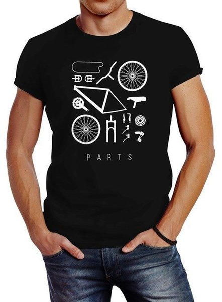 Fahrrad Teile Herren T-Shirt Bicycle Parts Neverless