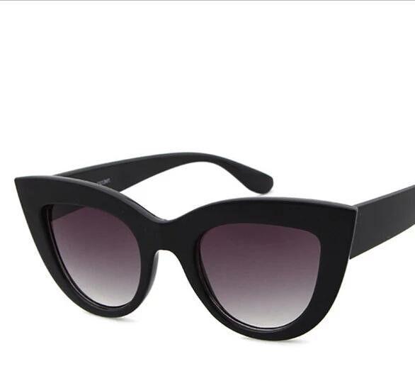 2018 Summer New Arrival Retro Thick Frame Cat Eye Sunglasses Women Ladies Mirror Lens Cat Eye Sunglasses For Female