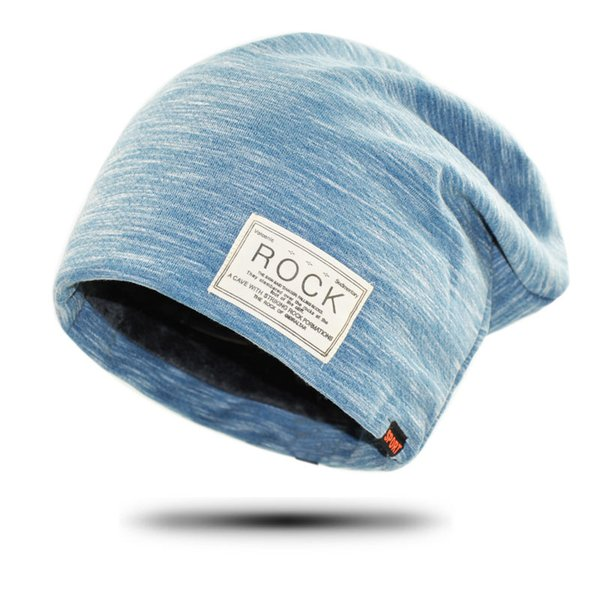 2017 New Women And Men ROCK Cloth Mark Hat Plus Cashmere Winter Hat For  Women Fashion Warm Beanie 3 Colors Sports Winter Caps d0a1f15fdea7