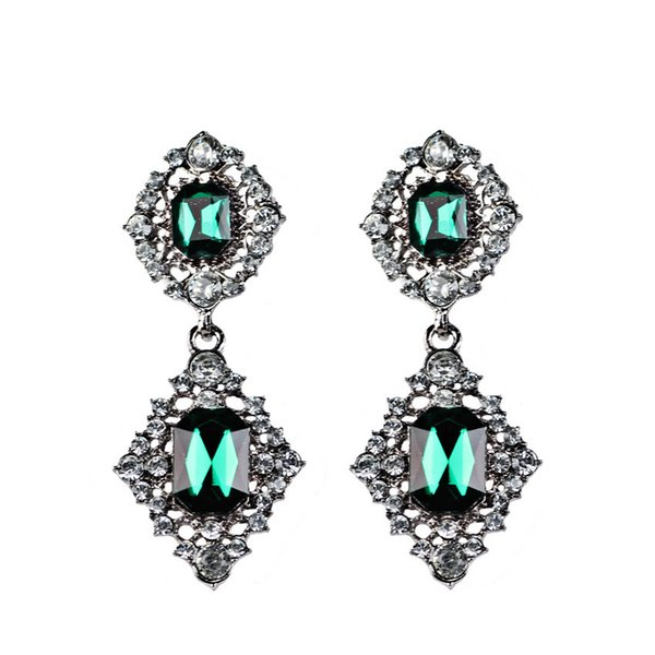 New European Exaggeration Restore Ancient Ways Earring Green Crystal Glass Leaf Earrings Accessories Ear Nail