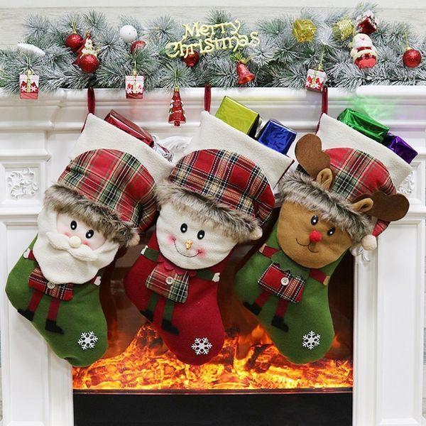 Christmas sock gift bag Christmas Stockings Socks Plaid Santa Claus Candy Gift Bag Xmas Tree Hanging Ornament Decoration