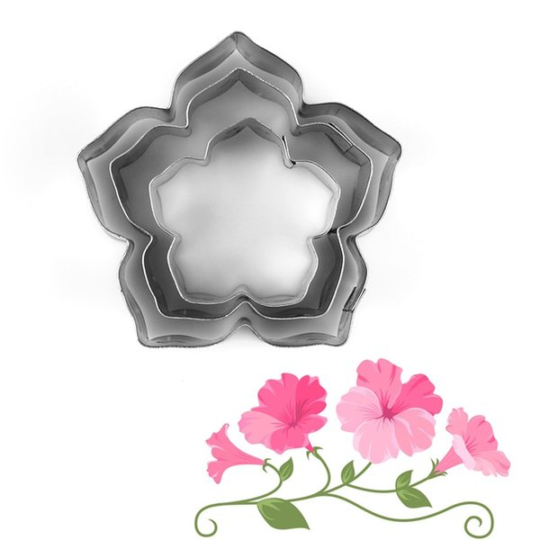 3pcs/lot Beautiful Flower Cake Mold Stainless Steel Petunia Carnations Cosmos Cookie Cutter Fondant Cake Decoration
