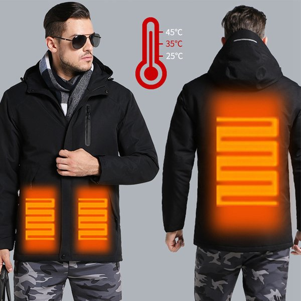 Men Women Winter Thick USB Heating Cotton Jackets Outdoor Waterproof Windbreaker Hiking Camping Trekking Climbing Skiing Coats