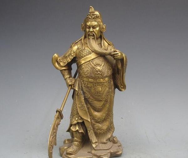 China Reines Kupfer Messing Guan Gong Guan Yu Krieger Gott Wu Fortuna Statue