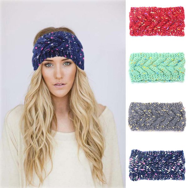 Women Knitted Woolen Headband Stretch Winter Thick Warm Crochet Hair Bands For Adult Lady Cross Fashion Turban Hair Accessories