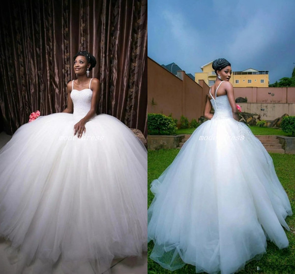 Exquisite African Ball Gown Wedding Dresses 2019 Spaghetti Sweep Train Major Beading Chapel Garden Bridal Gowns vestido de novia Plus Size