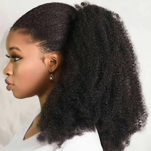 160g Human Hair Kinky Ponytails Hairpieces For American Black Women Afro Curly Ponytail Drawstring Clip On Pony Tail 4 Colors Available