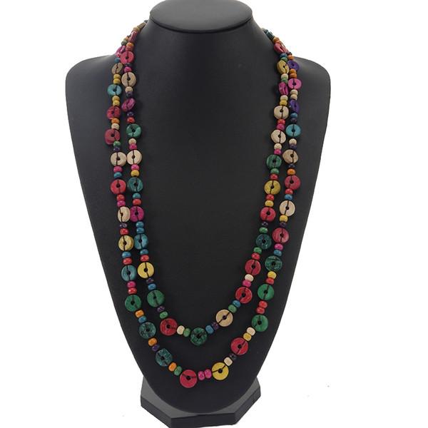 Neues design multicolor Holz Perlen Handmade String Lange Kette Halsketten Frauen Holz kokosnussschale Ethnische Schmuck geschenk