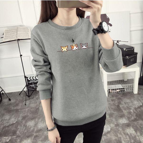 New Kawaii Harajuku Women Hoodies Cat Sweatshirt Female Winter Warm Fleece Korean Sweatshirt Wholesale Long Sleeve Jumpers