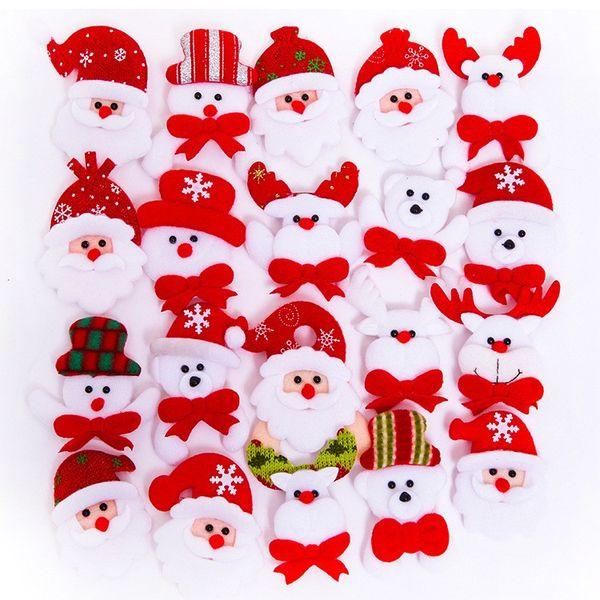 top popular Christmas Gift LED Glowing Santa Snowman Deer Bear Glow Flashing Cartoon Brooch Badge Toy Christmas Luminous Decoration 2019