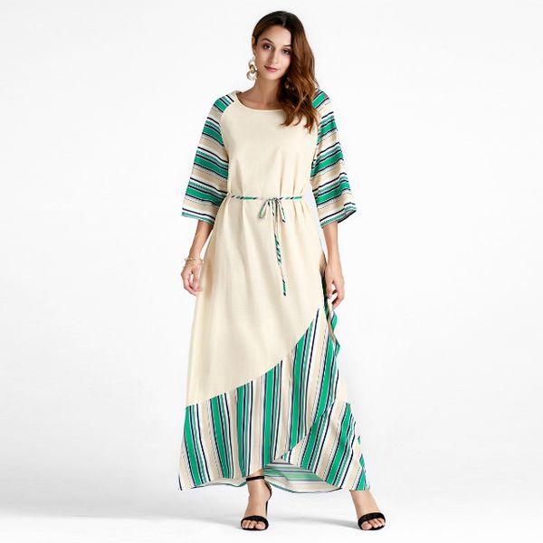 21ce9c9cd1 Autumn Women 3/4 Sleeve O Neck Striped Print Irregular Hem Ruffle Casual  Party Loose Middle East Muslim Malaysia Long Maxi Dress For Ladies Velvet  ...