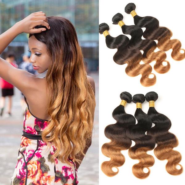 Paquetes de cabello humano indio 100% armadura de cabello indio 3 Paquetes de paquetes de ondas de cuerpo Honey Blonde T1B / 4/30 Extensiones de cabello no Remy