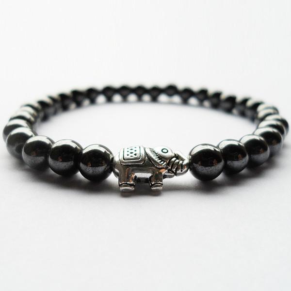 Beste verkaufende 6 MM magnetische Hämatit Stein Elefanten Perlen Armbänder Frauen Mann Zeitraum Fitness Schlaf Stimmung Tracker Gesundheit Armband