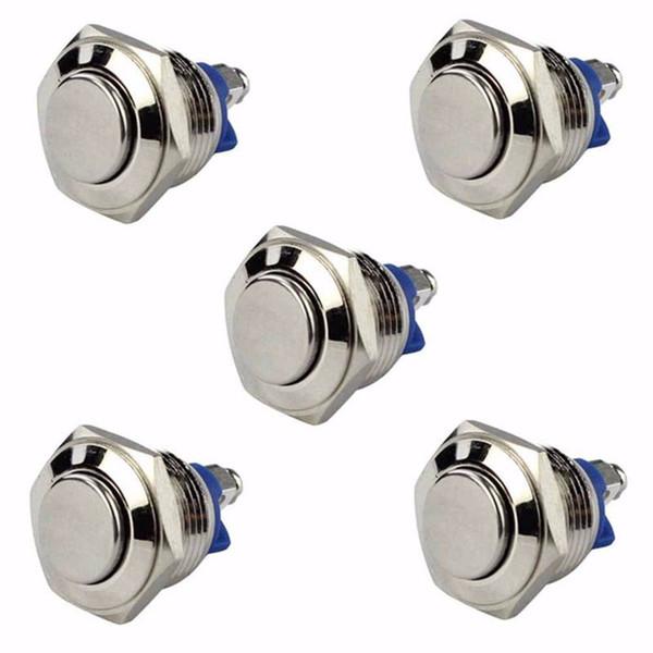 5 pcs 16mm de Metal Botão À Prova D 'Água 3A / 250 V Momentary Horn Switch Auto Reset Sier Forma Redonda