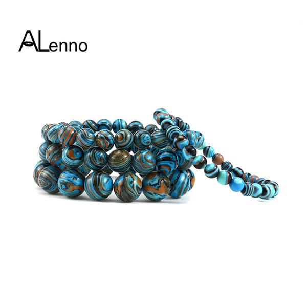 Bracelet de perles de pierre naturelle malachite bleu femmes hommes 6mm / 8mm / 10mm / 12mm bracelets de charme chakra yoga strand bijoux bracelets cadeaux