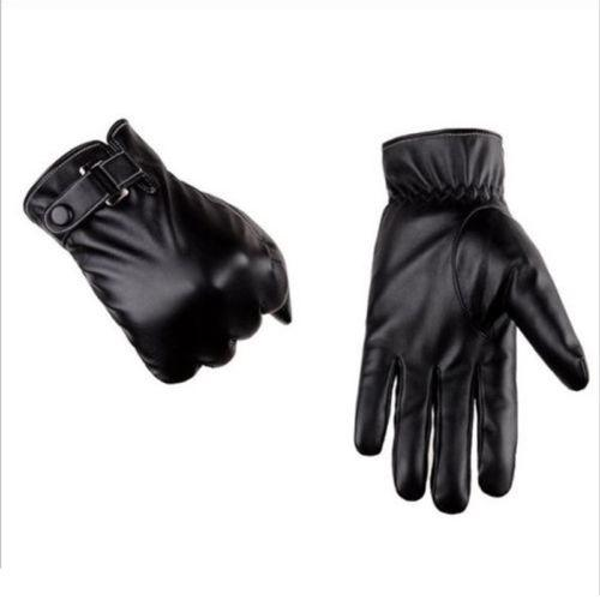 Men's Genuine Lambskin Leather Button Wrist Winter Warm Fleece Lining Gloves Touch Screen Plus Velvet Leather Gloves & Mittens