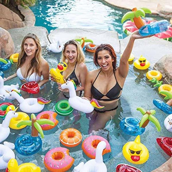 Aufblasbare Getränkehalter Pool Getränkehalter Schwimmende Untersetzer Spielzeug für Pool Party Kinder Bad Schwimmen Geburtstagsfeier c510