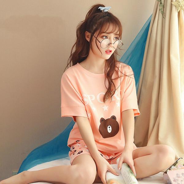 Yasemeen Summer Cartoon Casual Shorts Pajamas Set Casual Comfort Breathable Nightwear for Women Cotton Cartoon Sleepwear Girls