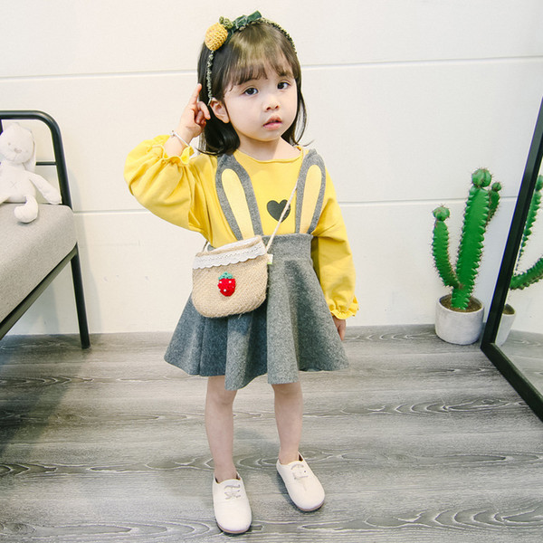 2018 New Design Hot Sale Girls Spring Autumn Rabbit Ear Dresses Set 2 Colors Baby Girl Outfit Cute Suspender Skirt +T-shirt