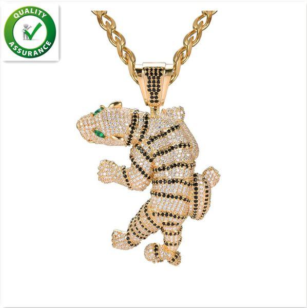 Iced Out Pingente Hip Hop Designer de Jóias Exagerada Feroz Tigre Pingentes Animal 3D Completa Diamante CZ Ágata Olho Com Cadeia de Moda Do Zodíaco