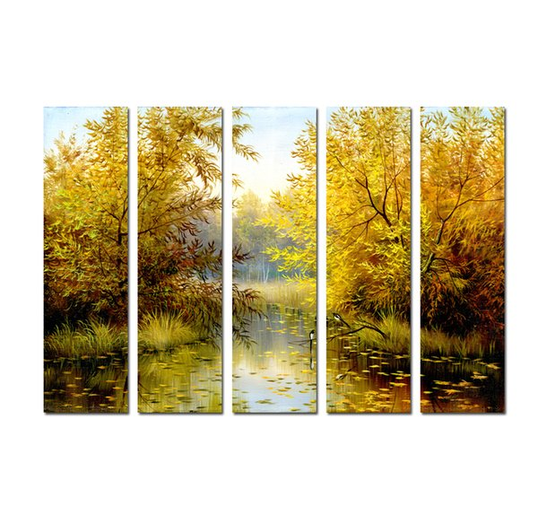 Large 5 Panel Quality Print on Canvas Wall Art Beautiful Landscape Astract Oil painting for Living Room Modern Picture Home Decoration DHB10