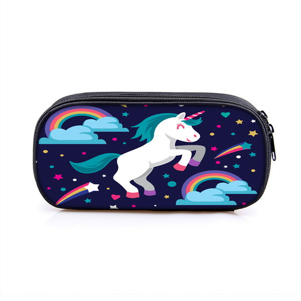 Unicorn Pencil Bags Kids Creative Pen Cases Fashion Coin Purse for Children Adults Cosmetic Mirror Holder