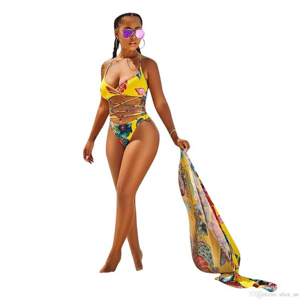 Nueva llegada 3 Unidades Mujer traje de baño 2018 Sexy traje de baño Bikini Set Floral Impreso Cover Ups Brasileño de cintura alta Tanga Cardigan Traje de baño