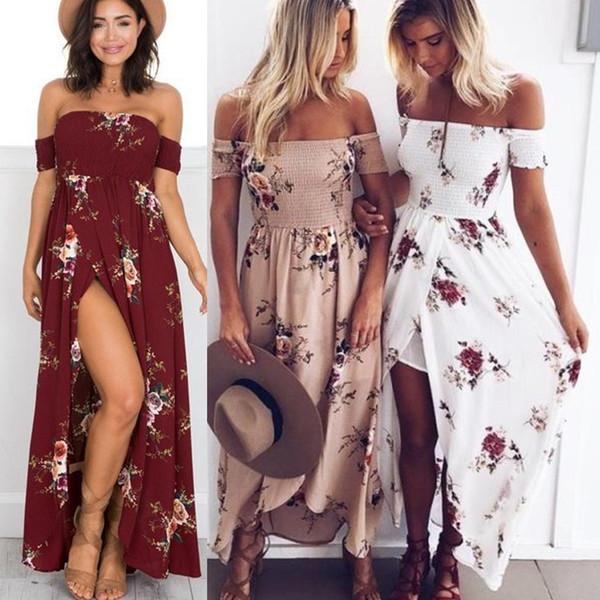 best selling 2018 casual dresses Boho style long dress women Off shoulder beach summer dress new year Vintage chifon white maxi dress vestidos de festa