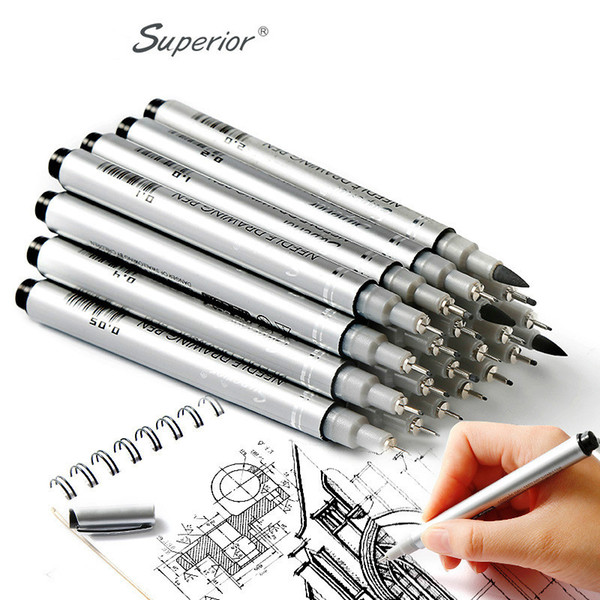 10Pcs/Set Superior Different Size Pigment Fineliner Sketch Marker Brush Tip Graffiti Hook Fiber Pens Writing Drawing Art Supplier