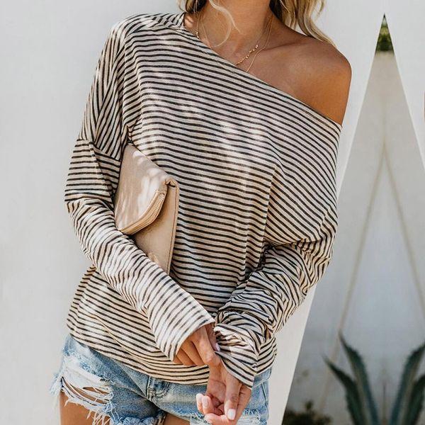 FeiTong Casual T-shirt Women Long Sleeve Striped Print Hooded Fashion Top shirt Autumn Women T-shirts Basic tee